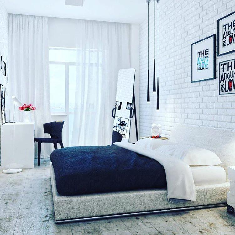 Белая спальня и обои под кирпич