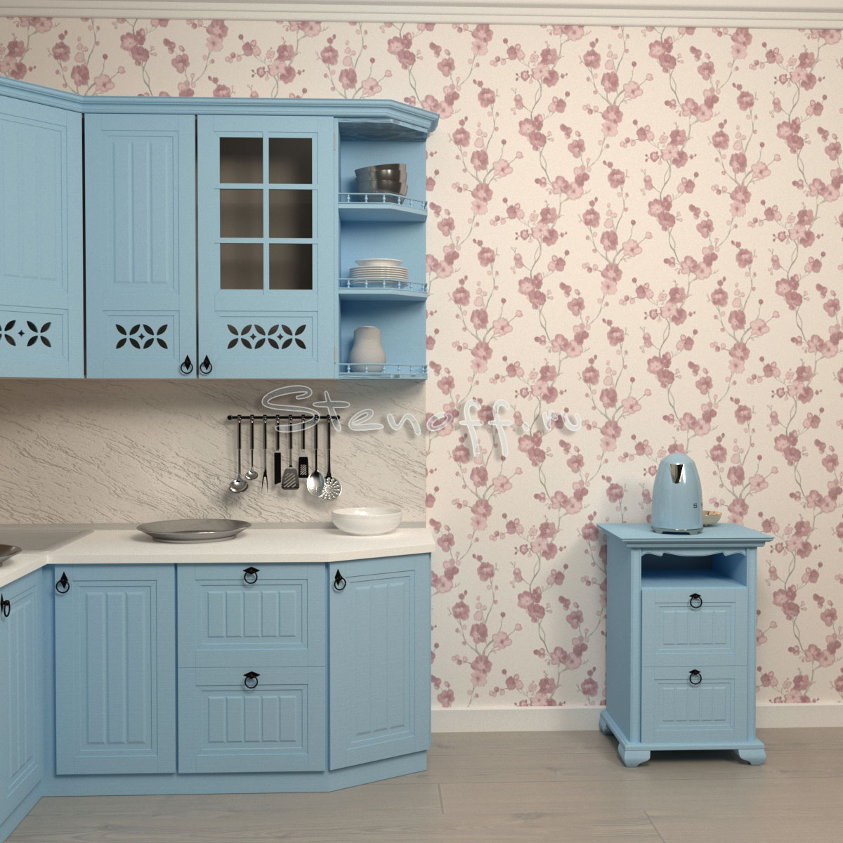 обои с цветами на кухне
