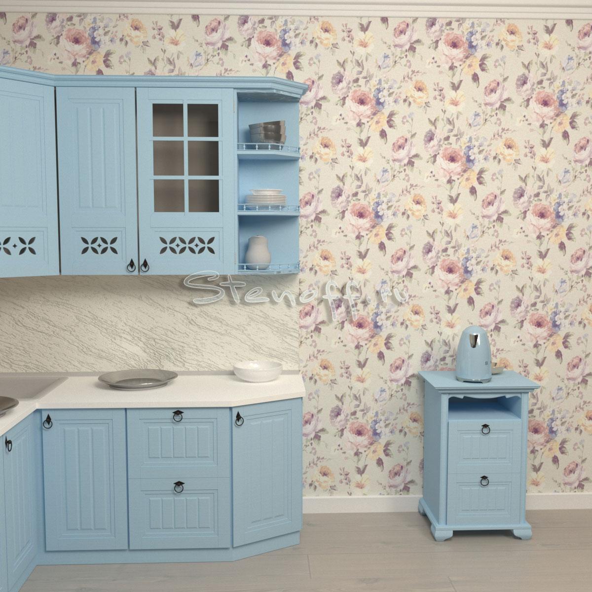 Голубая кухня и обои с цветами