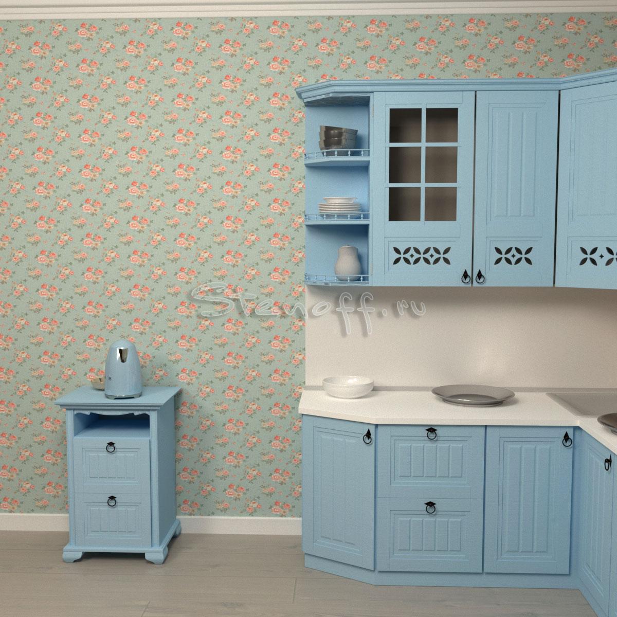 зеленые обои и голубая кухня