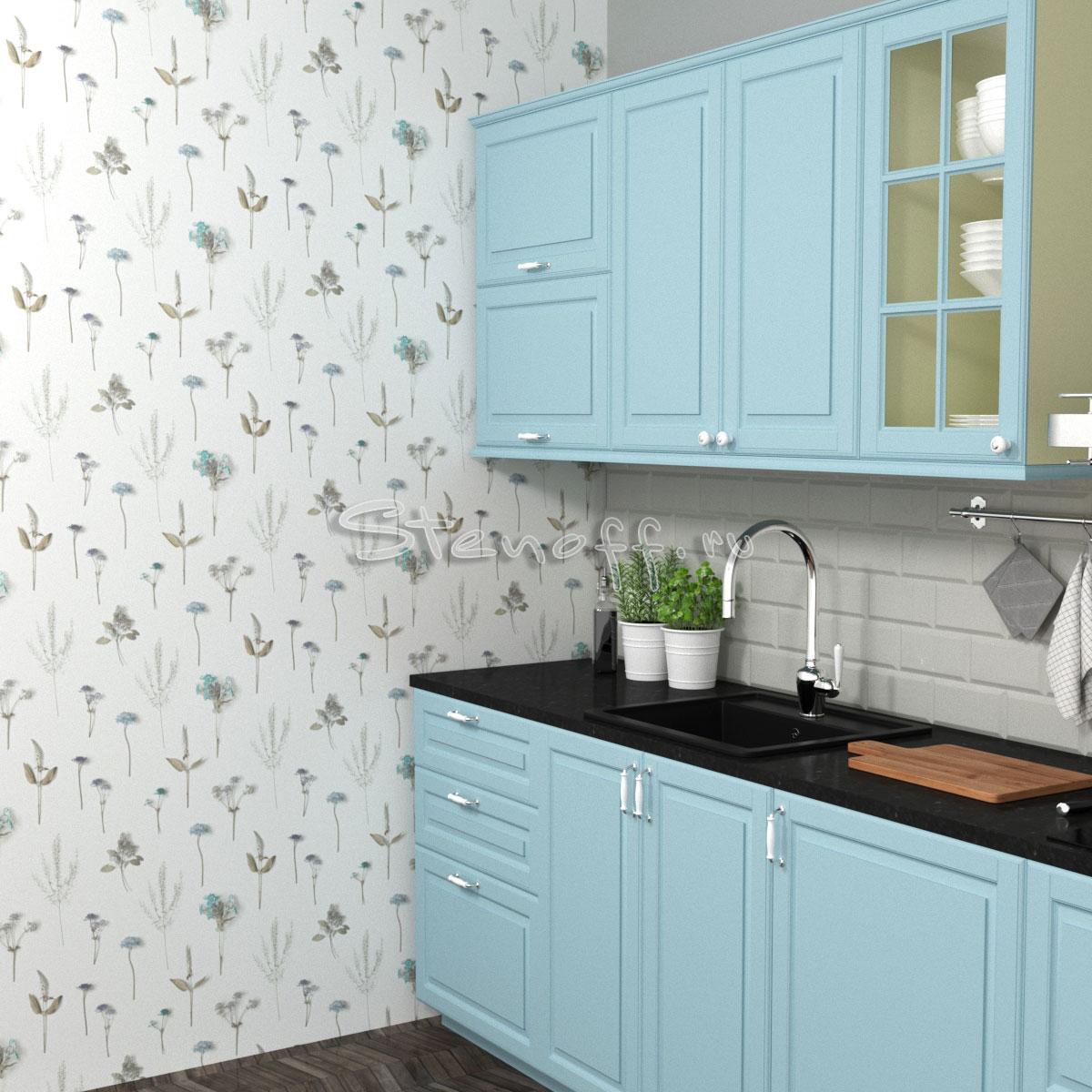 белые обои и голубая кухня