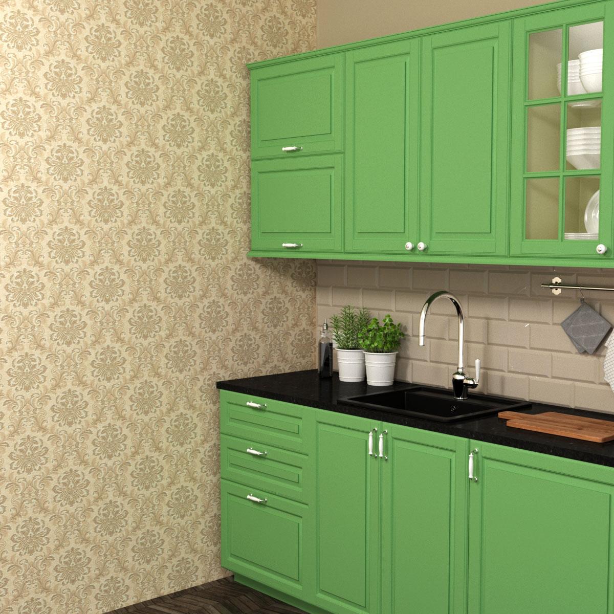 Бежевые обои и зеленая кухня