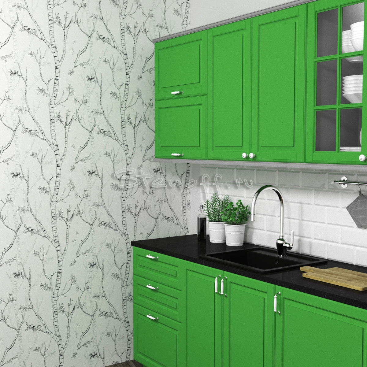 Обои с деревьями и зеленая кухня