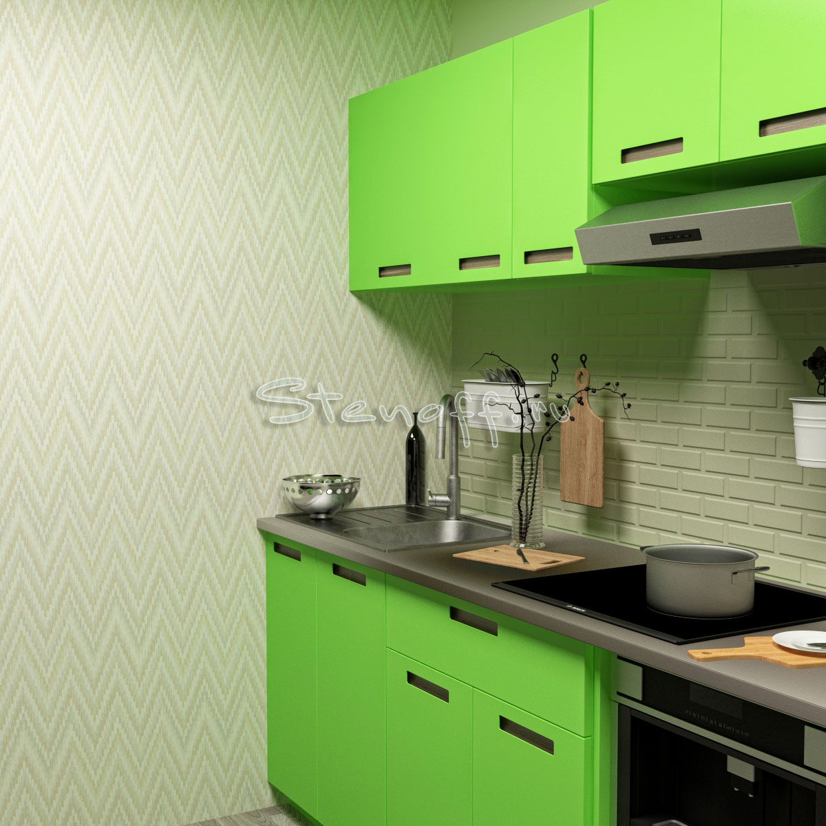 Зеленая кухня и обои с геометрическим рисунком><br></o:p></p>       <p style=