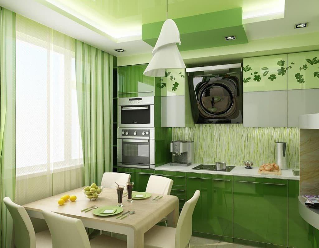 Уютная зеленая кухня