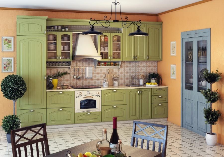 Зеленая кухня и оранжевые стены