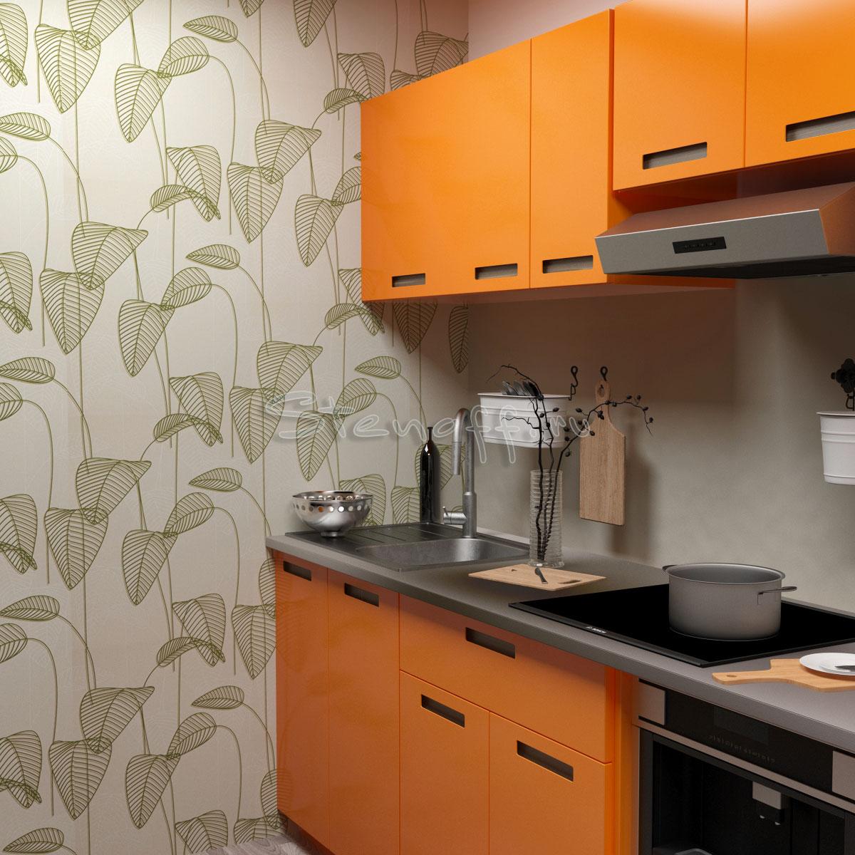 Оранжевая кухня и зеленые обои