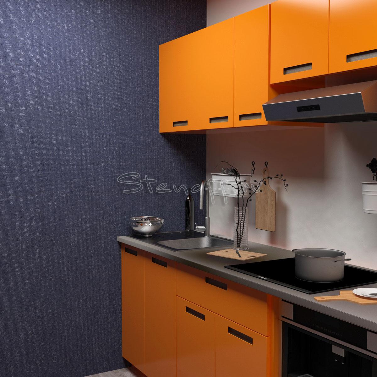 Оранжевая кухня и синие обои