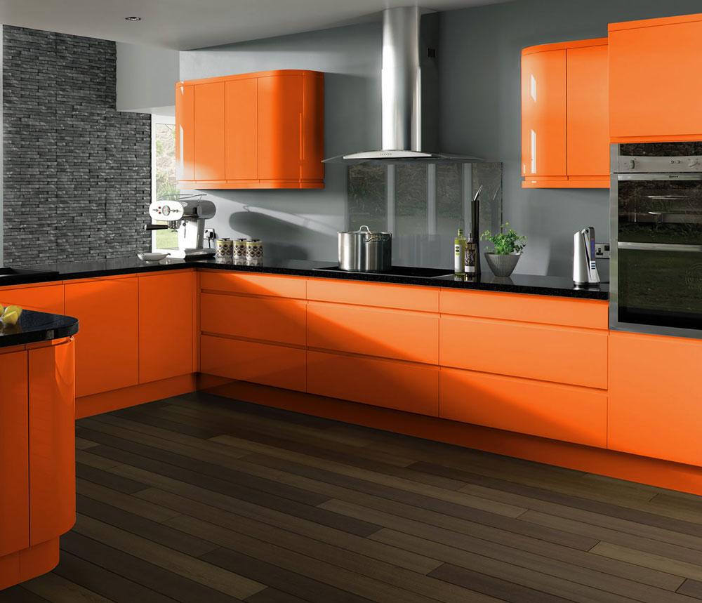 Оранжевая кухня в стиле хай-тек