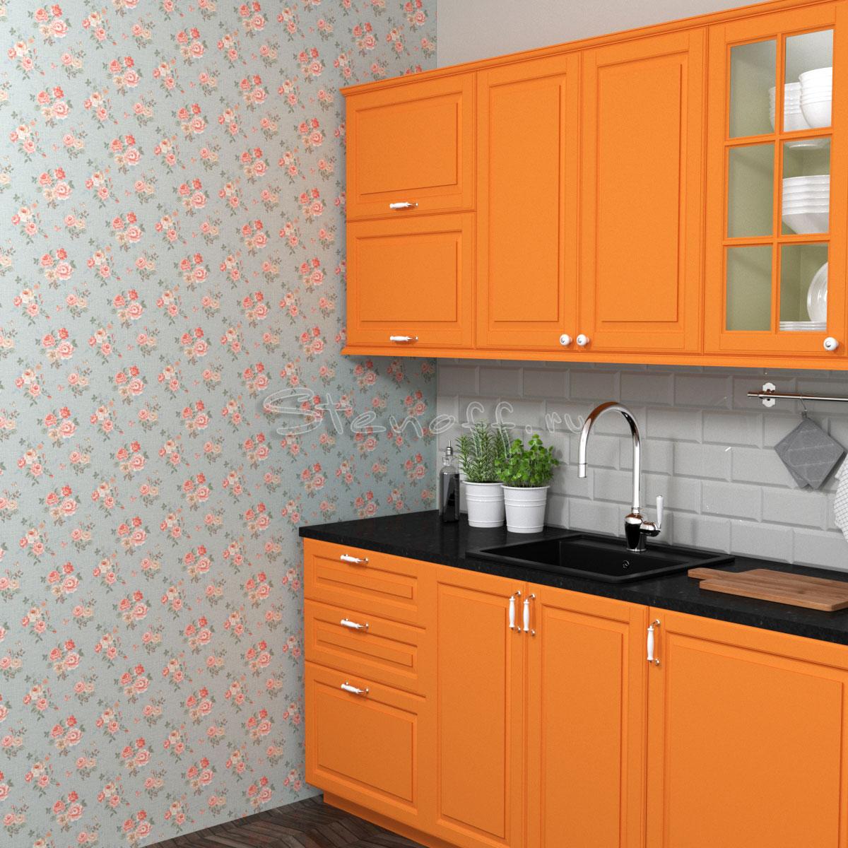 Оранжевая кухня и обои в стиле прованс