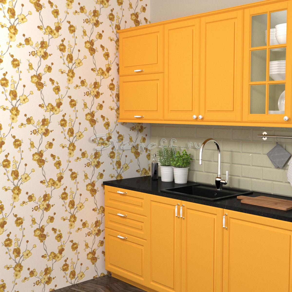 Оранжевая кухня и оранжевые обои