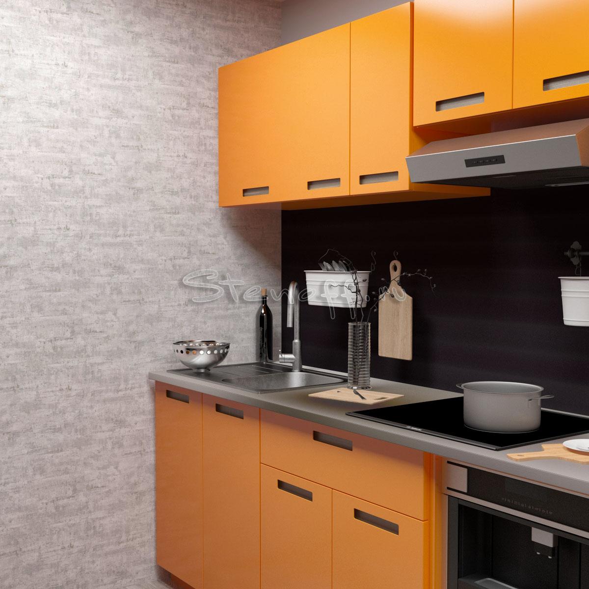 Оранжевая кухня и однотонные обои