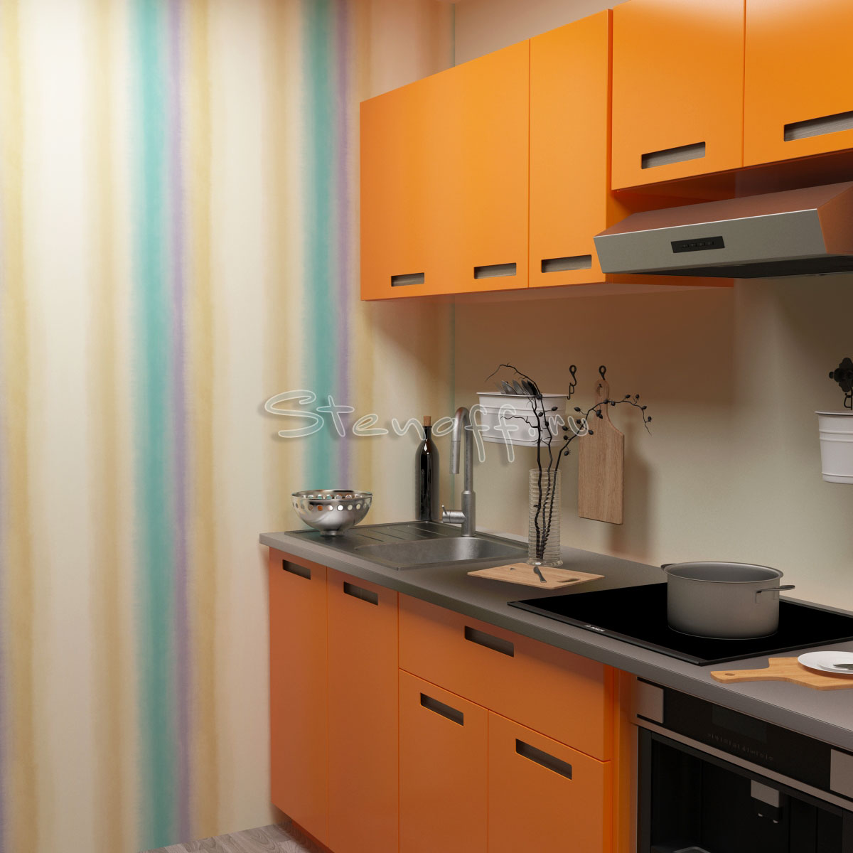 Оранжевая кухня и обои в полоску