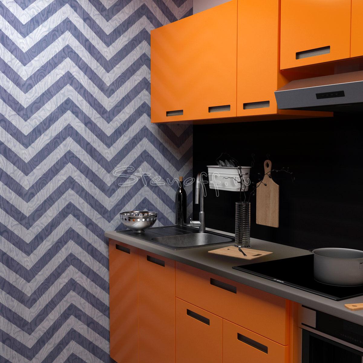Обои шеврон и оранжевая кухня
